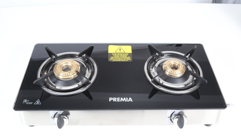 Premia Glass top-2B-CXJ-22 Stainless Steel, Glass Manual Gas Stove(2 Burners)