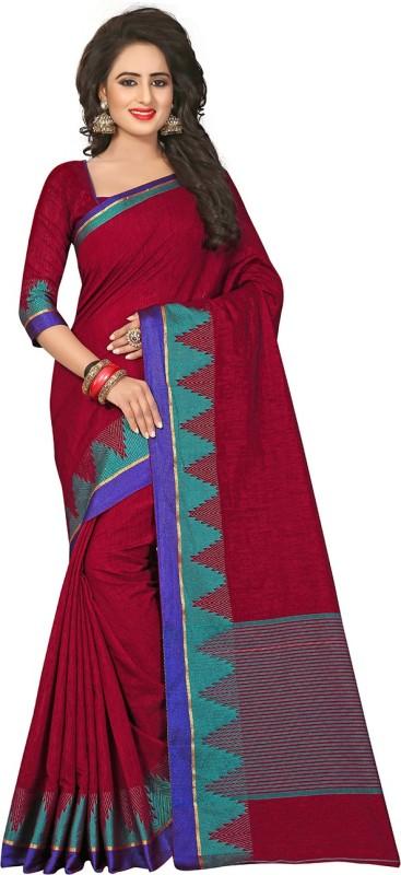 Viva N Diva Woven Fashion Cotton, Jute Saree(Maroon)