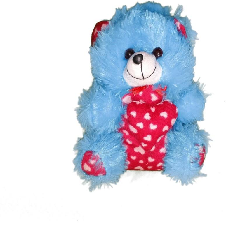CJ Stuffed Soft Cute Teddy Bear with heart Message Best Festival gift for kids 25 cm - 25 cm(Blue, Pink)