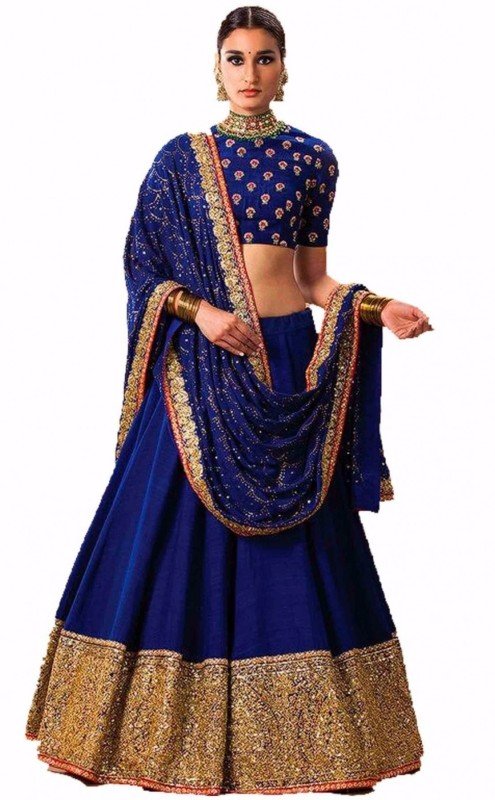 Clickedia Embellished Lehenga, Choli and Dupatta Set(Blue, Gold)