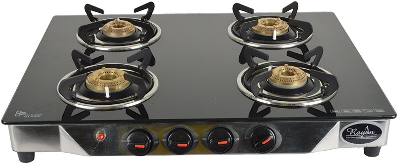 Rayon Rayon Stainless Steel 4 Burner Gas Stove, Black Stainless Steel Manual Gas Stove(4 Burners)