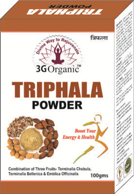 3G Organic Triphala Powder Organic Pure Pulp Powder of All 3 Fruits 100 Gms(100 g)