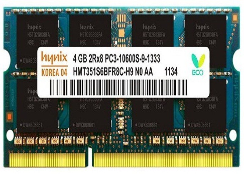 Hynix 10600s DDR3 4 GB (Single Channel) Laptop 4gb ddr3 ram (10600s)(Green)