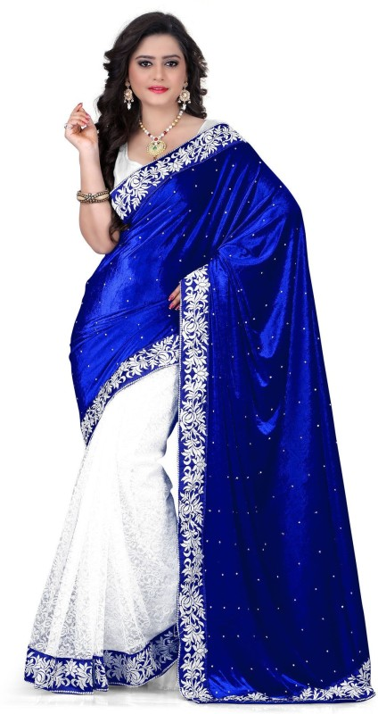 Mac Enterprise Self Design Fashion Velvet, Brasso Saree(Blue, White)