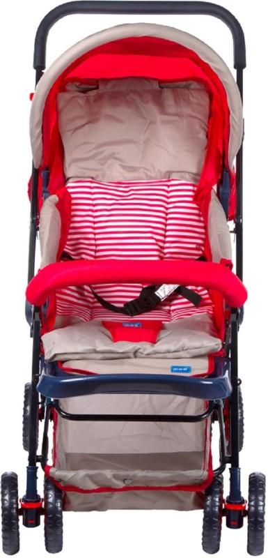 MeeMee Baby Pram Cum Stroller With Reversible Handle Printed (Red)(3, Red)
