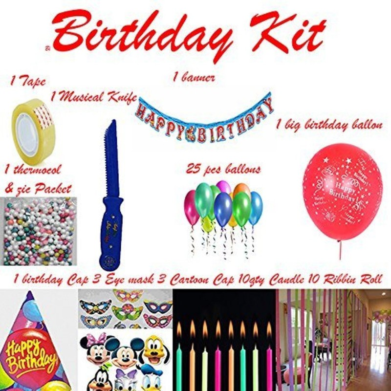 Shop Online Multicolor Birthday Party Kit Full Room Decoration Kit (MIx) - 10 ml