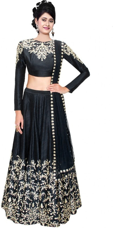 Clickedia Embroidered Lehenga, Choli and Dupatta Set(Black)