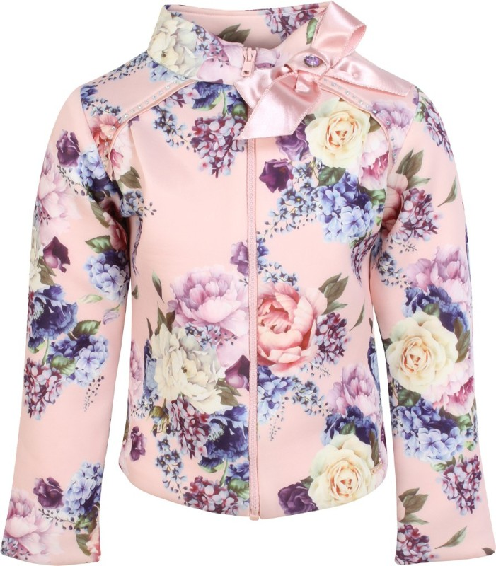 Cutecumber Full Sleeve Floral Print Girls Jacket