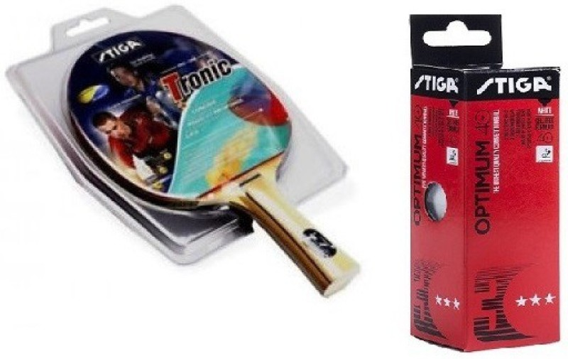 stiga Combo of two , one Tronic table tennis racquet and one Optimum 40+ Ping Pong Ball box. Multicolor Table Tennis Racquet(G4, Weight - 200 g)
