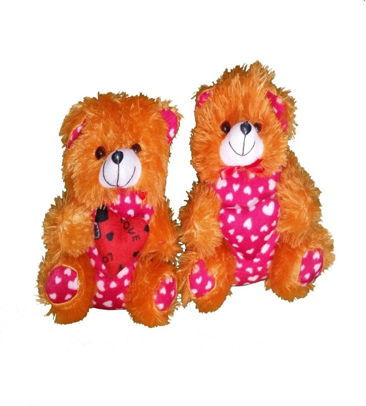 CJ Couple Stuffed Soft Cute Teddy Bear with heart Message Best Festival gift for kids 25 cm - 25 cm(Brown, Pink)