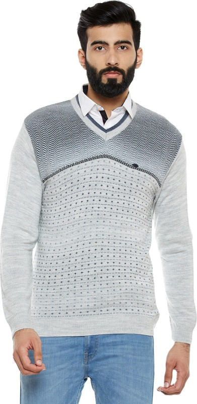 Duke Striped V-neck Casual Men Grey Sweater