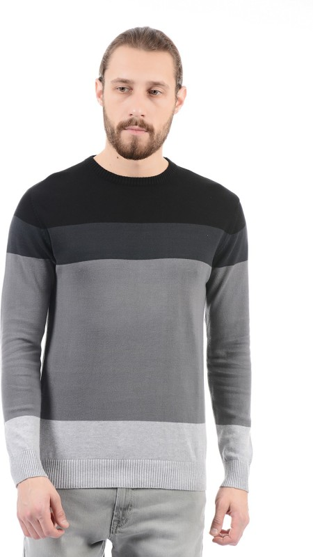 Pepe Jeans Striped Round Neck Casual Mens Black Sweater