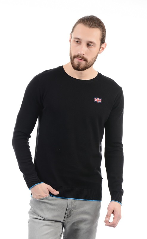 Pepe Jeans Solid Round Neck Casual Mens Black Sweater