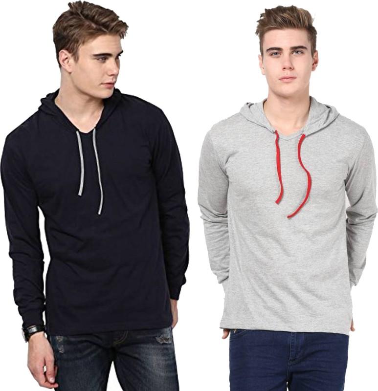 Jangoboy Solid Men's Hooded Dark Blue, Grey T-Shirt(Pack of 2)