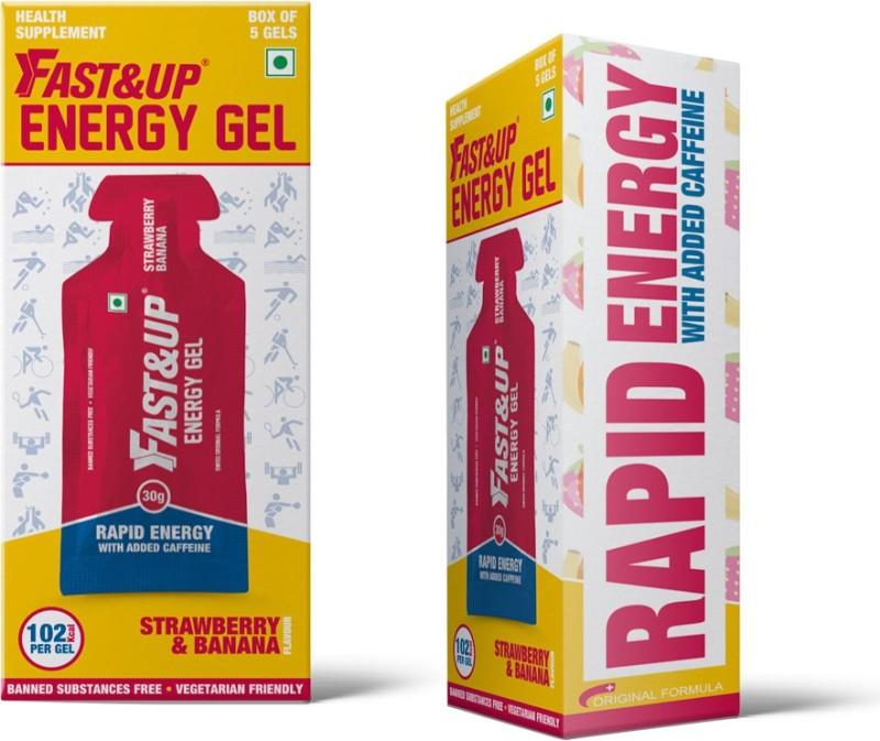 FastandUp Energy Gel Pack of 5 (Strawberry-Banana Flavor) Energy Drink(18 g, Pack of 2)