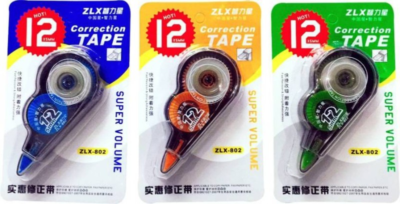 ENERZY Trio Color 5 mm Correction Tape(Set of 3, Blue, Orange, Green)