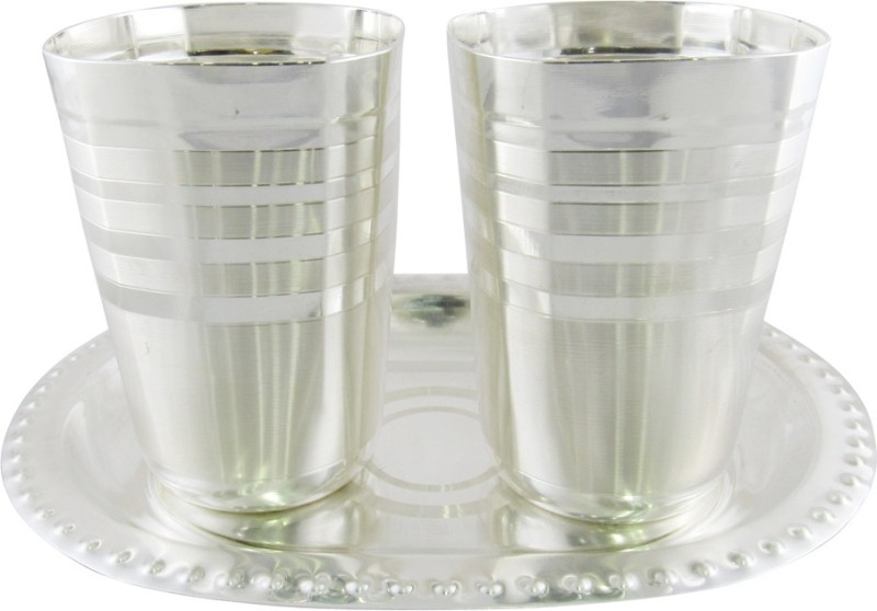 GoldGiftIdeas Square Cut Water Glass Tray Pack of 3 Dinner Set(Silver Plated)