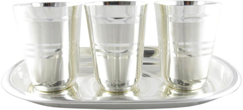 GoldGiftIdeas Three Square Cut Water Glass Tray Pack of 4 Dinner Set(Silver Plated)