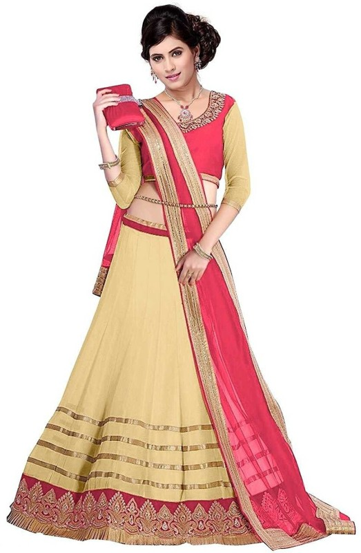 Clickedia Embroidered Lehenga, Choli and Dupatta Set(Beige, Pink)