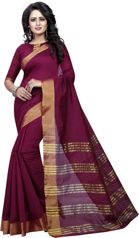 HNC Retail Floral Print, Woven Banarasi Cotton, Silk Saree(Maroon)