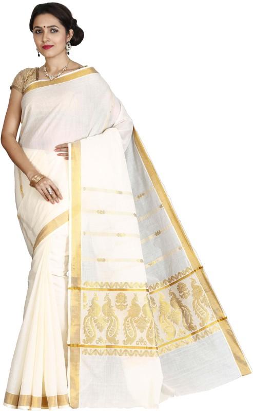 JISB Self Design, Woven Kasavu Cotton Saree(Beige)