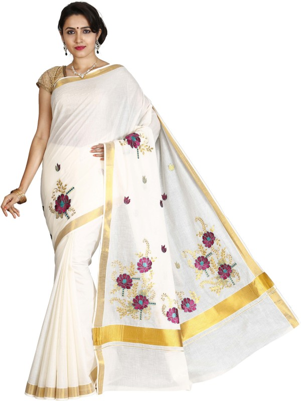 JISB Embroidered Kasavu Cotton Saree(Beige)