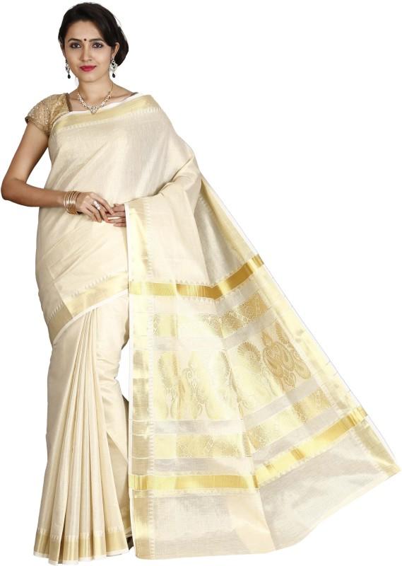 JISB Self Design, Woven Balarampuram Tissue Saree(Beige)