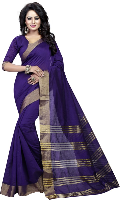 HNC Retail Floral Print, Woven Banarasi Cotton, Silk Saree(Purple)