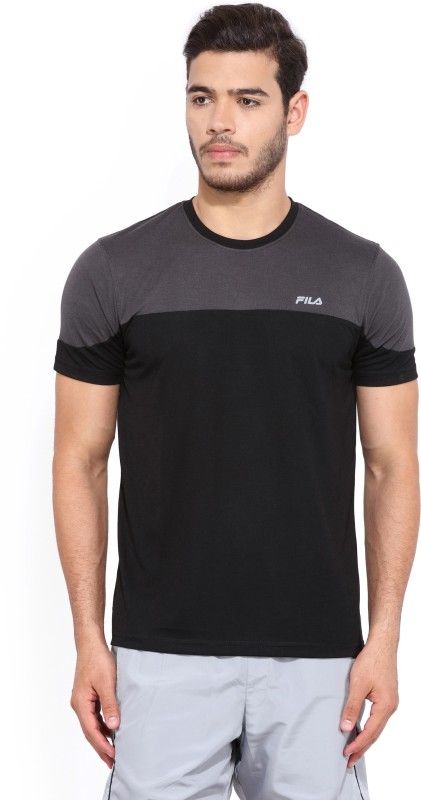 Fila Solid Mens Round Neck Black T-Shirt