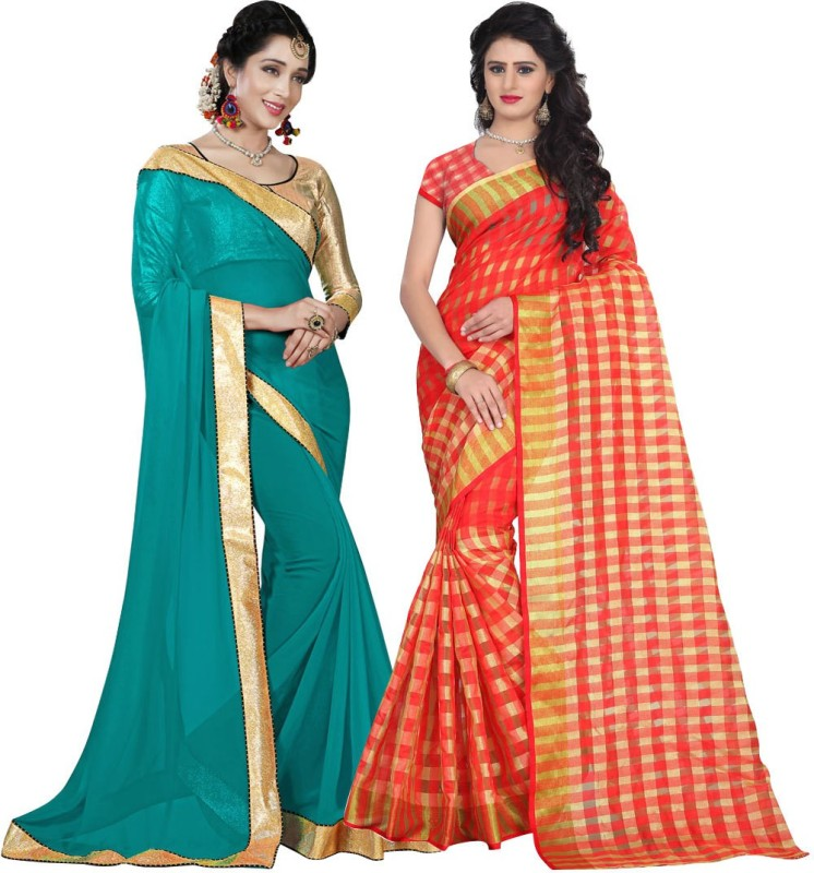 bbedca8272cc 73%off BAPS Printed Bollywood Georgette, Cotton Silk Saree(Pack of 2,  Multicolor)