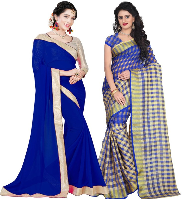 BAPS Printed Bollywood Georgette, Cotton Silk Saree(Pack of 2, Multicolor)