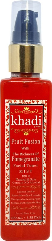 Khadi Global Fruit Fusion with Richness of Pomegranate Facial Mist Toner For Spotless Beauty Contain No Alcohal 100% Natural & Safe 100ml.(100 ml)