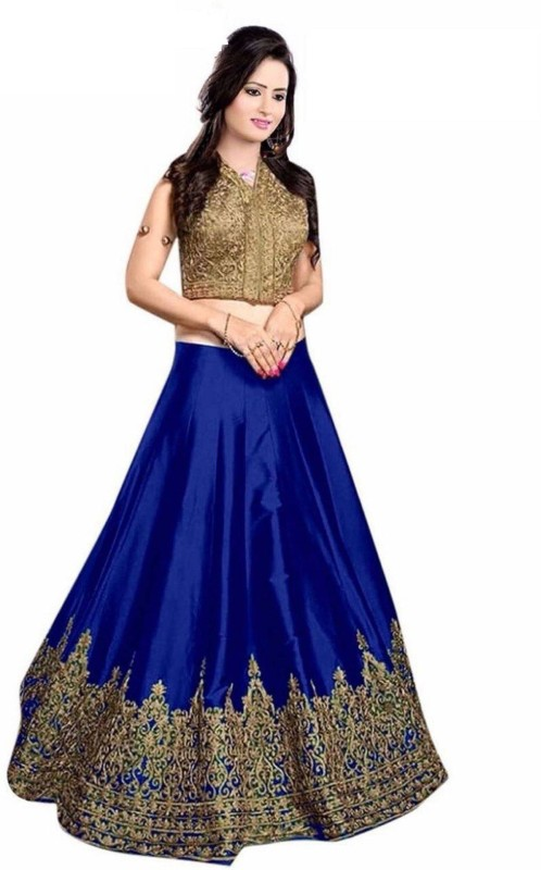 Clickedia Embroidered Lehenga Choli(Blue)
