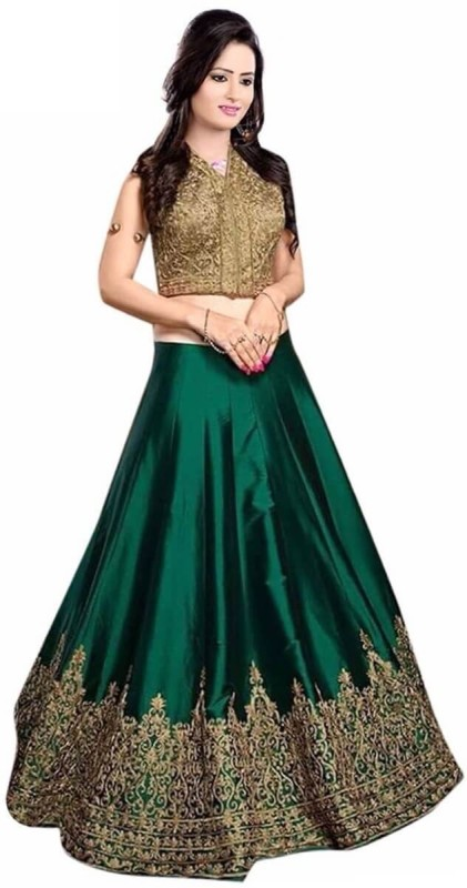 Clickedia Embroidered Lehenga Choli(Green, Gold)
