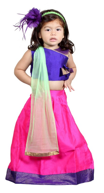 Chubby cheeks Girls Lehenga Choli Ethnic Wear Self Design Lehenga, Choli and...