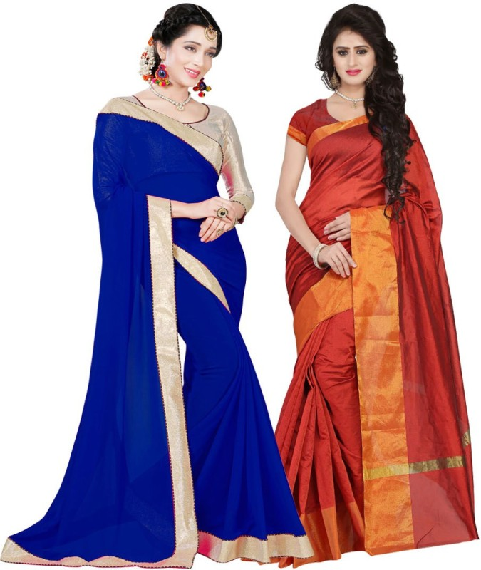 BAPS Embellished Bollywood Georgette, Cotton Silk Saree(Pack of 2, Multicolor)