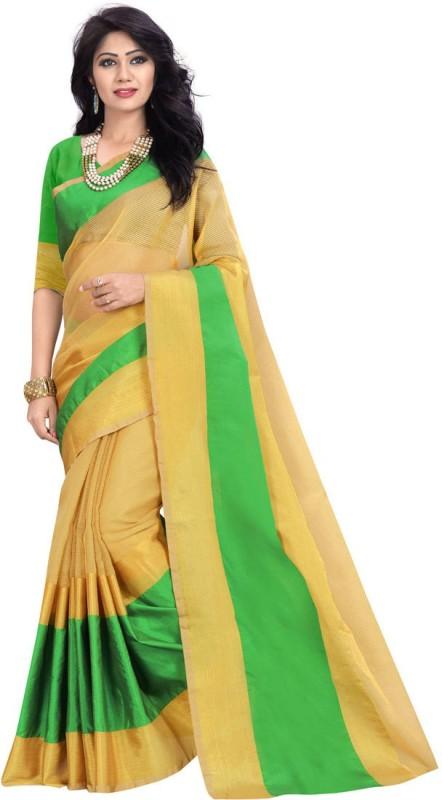 BAPS Striped Banarasi Cotton, Silk Saree(Beige, Green)