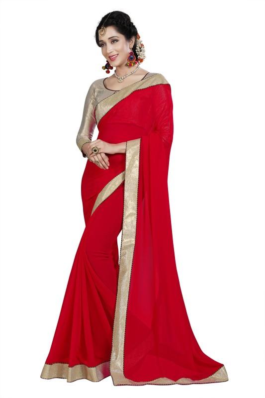 BAPS Plain Bollywood Georgette Saree(Red)