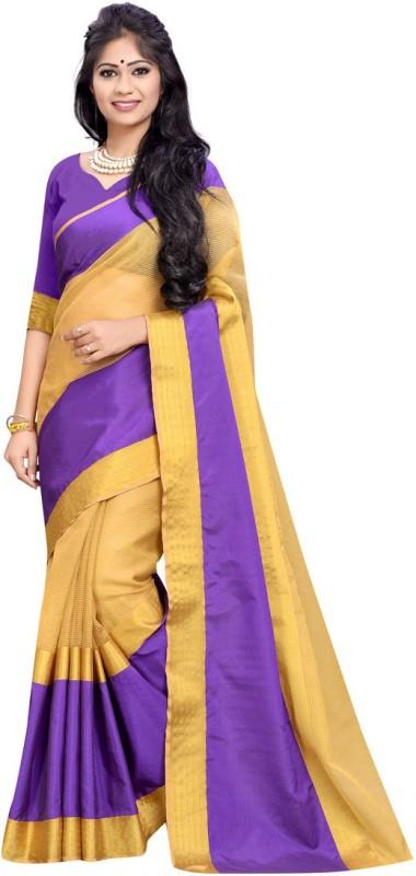 BAPS Striped Banarasi Cotton, Silk Saree(Beige, Purple)