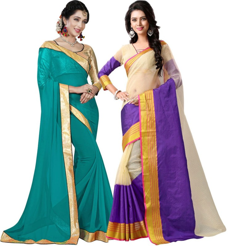 459c154f4d19 73%off BAPS Embellished Bollywood Georgette, Cotton Silk Saree(Pack of 2,  Multicolor)