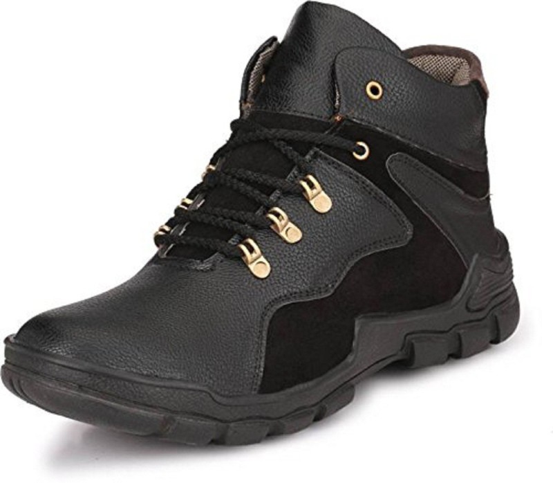 Deals4you Men's Synthetic Leather Casual Shoes Boots Boots(Black)
