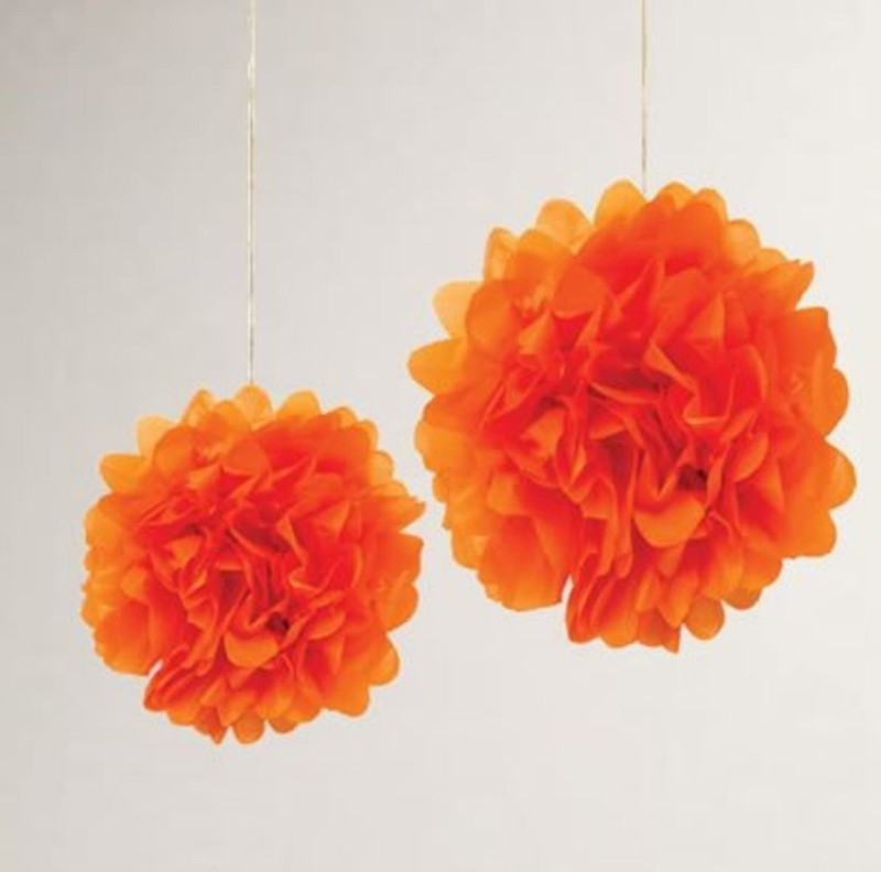 Shop Online Orange Fluffy Pom Pom Hanging for Decoration 3PCS 12