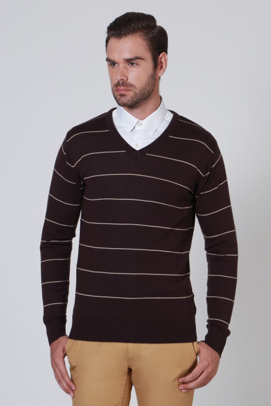 Allen Solly Striped V-neck Casual Men Brown Sweater