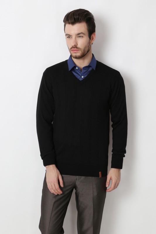 Peter England Solid V-neck Formal Men Black Sweater