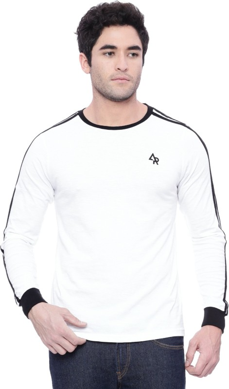ADRO Self Design Men Round or Crew White T-Shirt
