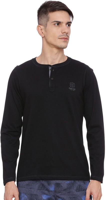 Proline Solid Men Henley Black T-Shirt