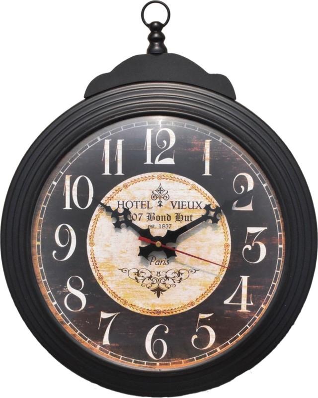 007 bond hut Analog Wall Clock(Black, Brown, With Glass)