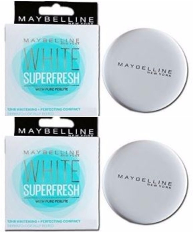 Maybelline New York White Super Fresh Compact - Shell (Pack of2) Compact - 8 g(Shell)