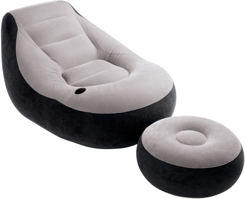Intex PVC 1 Seater Inflatable Sofa(Color - Grey, Black)