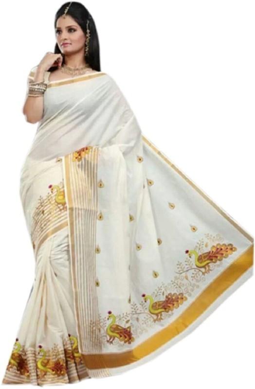 Selvamani Tex Striped, Embroidered Kasavu Cotton Saree(White)